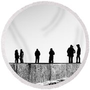 People Standing In Groups Abstract Monchrome Round Beach Towel