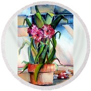 Peppermint Carnations Round Beach Towel
