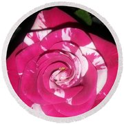 Peppermint Rose Round Beach Towel