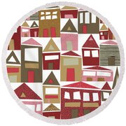 Peppermint Village Round Beach Towel