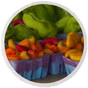 Peppers At The Produce Market Round Beach Towel