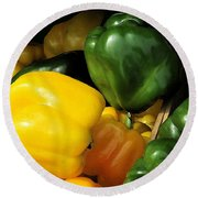 Peppers Yellow And Green Round Beach Towel