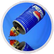 Pepsi Can Hot Air Balloon At Solberg Airport Reddinton  New Jersey Round Beach Towel