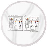 Perception And Reality Round Beach Towel
