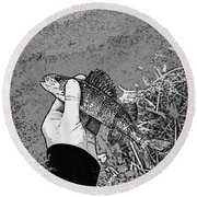 Perch Black And White Round Beach Towel