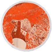 Perch Red Round Beach Towel