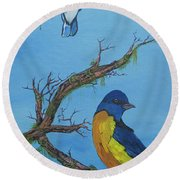 Perched 2 Round Beach Towel