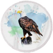 Perched Eagle Round Beach Towel