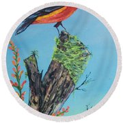 Perched Round Beach Towel
