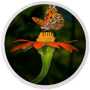 Perched On A Blossom  Round Beach Towel