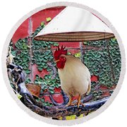 Perched Rooster Round Beach Towel