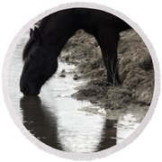 Percheron Kiss Round Beach Towel