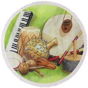 Percussion Round Beach Towel
