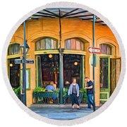 Pere Antoine Restaurant - Paint Round Beach Towel