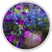 Perennial Flowers Y2 Round Beach Towel