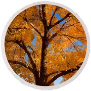Perfect Autumn Day With Blue Skies Round Beach Towel