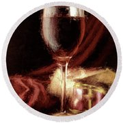 A Perfect Glass Of Wine Round Beach Towel