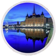 Perfect Riddarholmen Blue Hour Reflection Round Beach Towel