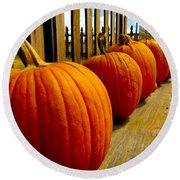 Perfect Row Of Pumpkins Round Beach Towel