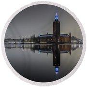 Perfect Stockholm City Hall Night Reflection Round Beach Towel