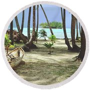 Perfect Tropical Paradise Islands With Turquoise Water And White Sand Round Beach Towel