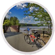 Perfect Weather For Cycling At Lake Brandt Round Beach Towel