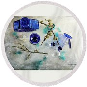 Perfectly Blue Round Beach Towel