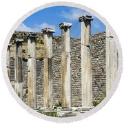 Pergamon Asklepion Colonnade Round Beach Towel