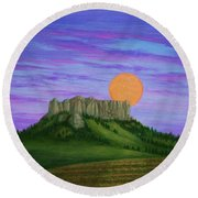 Perigee Moon Rising Above Crow Butte Round Beach Towel