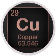 Periodic Table Of Elements - Copper - Cu - Copper On Black Round Beach Towel