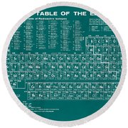 Periodic Table Of Elements In Green Round Beach Towel