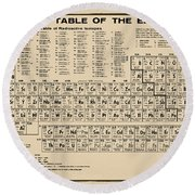 Periodic Table Of Elements In Sepia Round Beach Towel