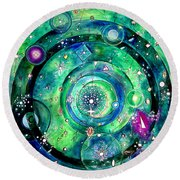 Universe Inside Of Electrons. Periodic Table Of The Elements Round Beach Towel