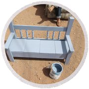 Periwinkle Bench Round Beach Towel