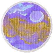 Periwinkle Moon Round Beach Towel