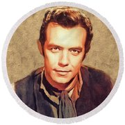 Pernell Roberts, Vintage Actor Round Beach Towel