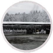 Perrine's Bridge After The Nor'easter Round Beach Towel