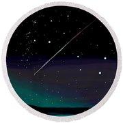 Perseid Meteor Shower  Round Beach Towel by Jean Pacheco Ravinski