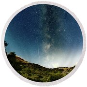 Perseids Meteor Shower  Round Beach Towel