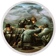 Perseus And The Graiae Round Beach Towel
