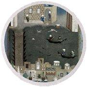 Persian Miniature, 1468 Round Beach Towel