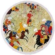Persian Polo Game Round Beach Towel