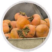 Persimmons In A Bucket Round Beach Towel