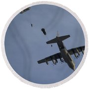 Personnel Jump From A C-130 Hercules Round Beach Towel