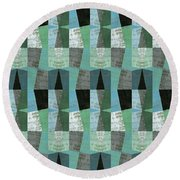 Perspective Compilation With Wood Grain And Teal Round Beach Towel