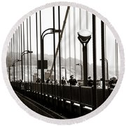 Perspective On The Golden Gate Bridge Round Beach Towel