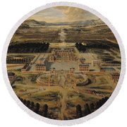 Perspective View Of The Chateau Gardens And Park Of Versailles Round Beach Towel