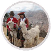 Peruvian Girls With Llamas Round Beach Towel