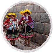 Peruvian Native Costumes  Round Beach Towel