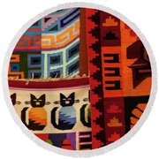 Peruvian Tapestries  Round Beach Towel